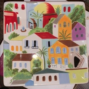 Square wall art plate with houses
